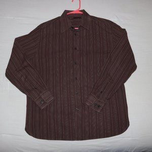 Perry Ellis Brown Striped Button Up Shirt